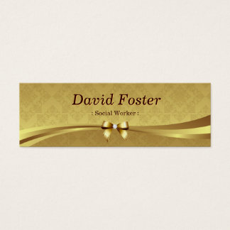 Social Worker - Shiny Gold Damask Mini Business Card
