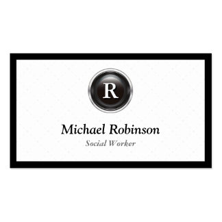 Social Worker - Simple Stylish Monogram Pack Of Standard Business Cards