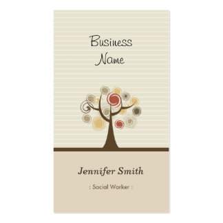 Social Worker - Stylish Natural Theme Pack Of Standard Business Cards