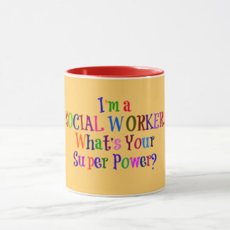 Social Worker Superhero, Colorful Text Mug