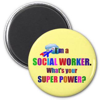 Social Worker Superhero Humor 6 Cm Round Magnet
