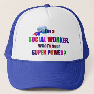 Social Worker Superhero with Calendar Trucker Hat