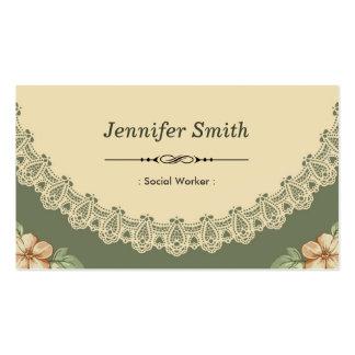 Social Worker - Vintage Chic Floral Pack Of Standard Business Cards