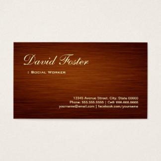 Social Worker - Wood Grain Look Business Card