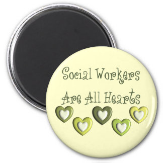 Social Workers Are All Hearts Gifts 6 Cm Round Magnet