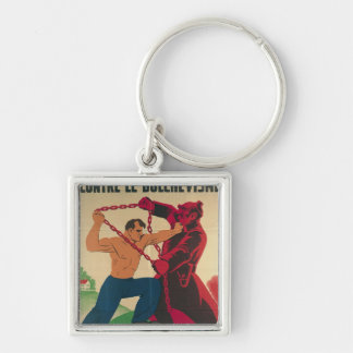 Socialism Against Bolshevism for a Free Silver-Colored Square Key Ring