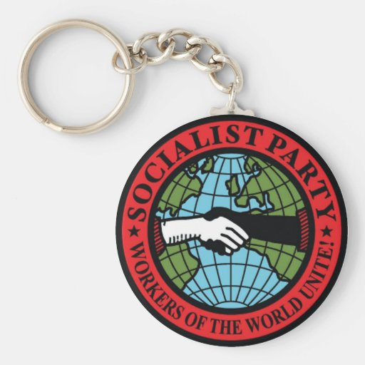SOCIALIST PARTY USA BASIC ROUND BUTTON KEY RING