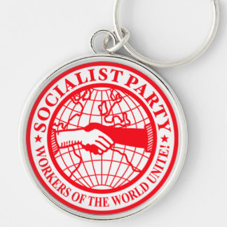 Socialist Party USA Logo Silver-Colored Round Key Ring