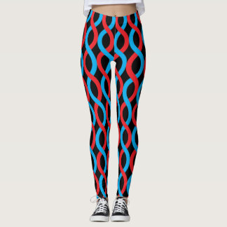 Socialite Entwined Blue Red Waves Pattern Leggings