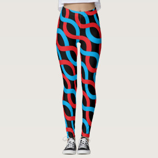 Socialite Entwined Waves Red Blue Pattern Leggings