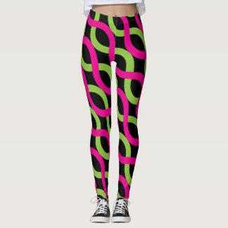 Socialite Pink Green Alternating Waves Pattern Leggings