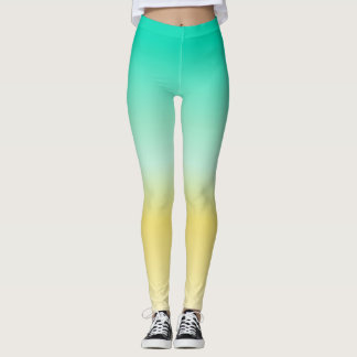 Socialite Turquoise and Yellow Leggings