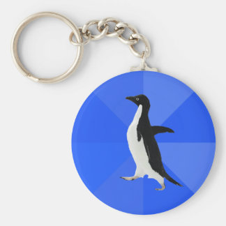 """Socially Awkward Penguin (""""Customize"""" to add text) Key Ring"""