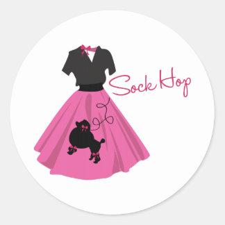 Sock Hop Round Sticker