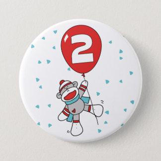 Sock Monkey 2nd Birthday 7.5 Cm Round Badge
