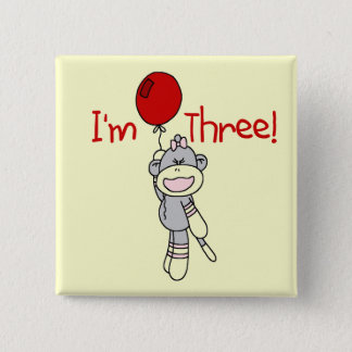 Sock Monkey 3rd Birthday Tshirts and Gifts 15 Cm Square Badge