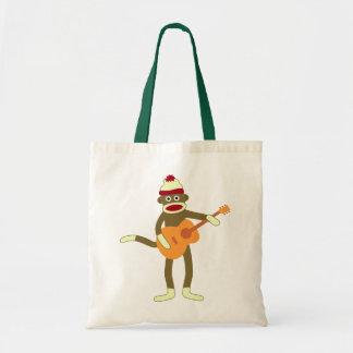 Sock Monkey Acoustic Guitar Budget Tote Bag