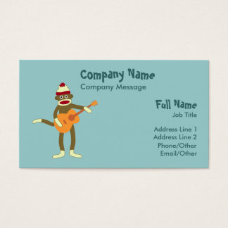 Sock Monkey Acoustic Guitar Business Card