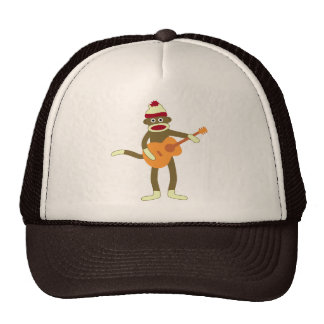 Sock Monkey Acoustic Guitar Trucker Hat