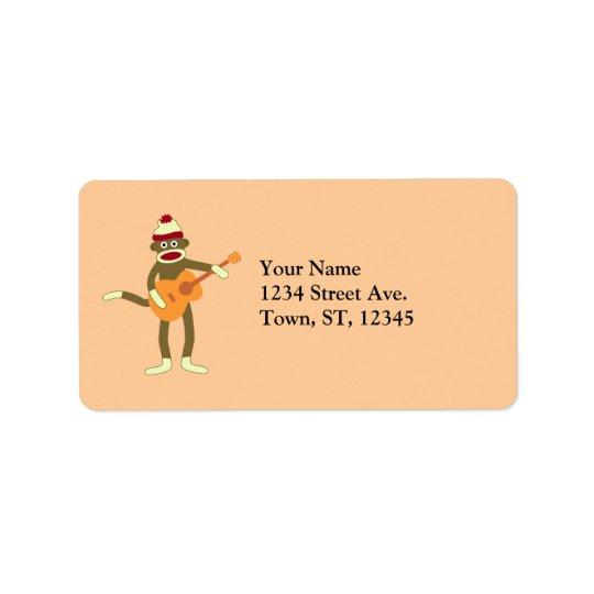 Sock Monkey Acoustic Guitar Label