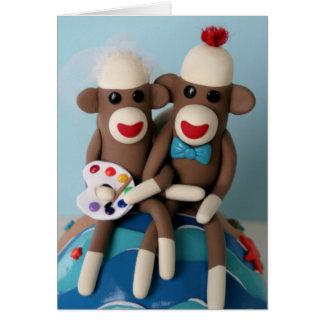 Sock Monkey Artist Wedding Card