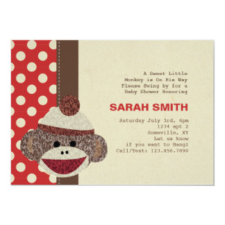 "Sock Monkey Baby Shower Invite 5"" X 7"" Invitation Card"