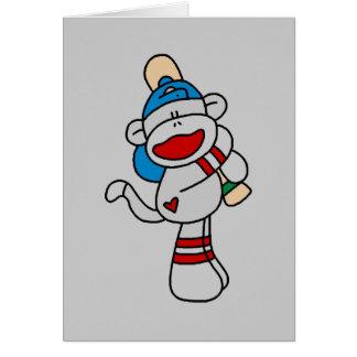 Sock Monkey Baseball At Bat Tshirts and Gifts Card