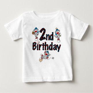 Sock Monkey Baseball Birthday Baby T-Shirt