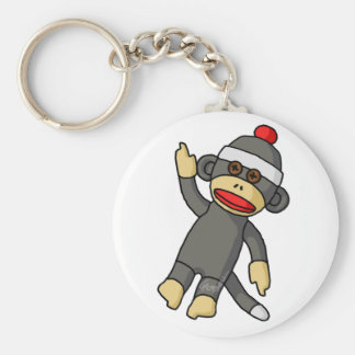 Sock Monkey Basic Round Button Key Ring