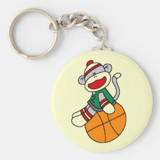 Sock Monkey Basketball T-shirts and Gifts Basic Round Button Key Ring