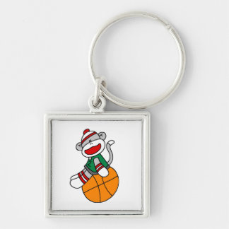 Sock Monkey Basketball T-shirts and Gifts Silver-Colored Square Key Ring