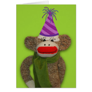 Sock Monkey Birthday Hat Card