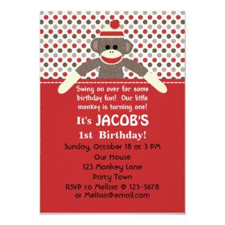 Sock Monkey Birthday Party invitation - customise
