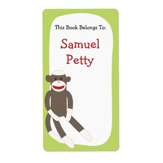 Sock Monkey bookplate Shipping Label
