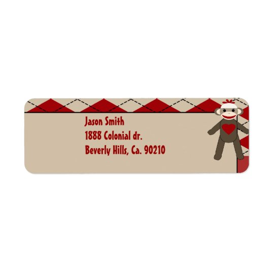 Sock Monkey Boy Gingham Birthday Party Return Address Label
