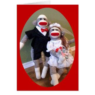 Sock Monkey Bride & Groom Card