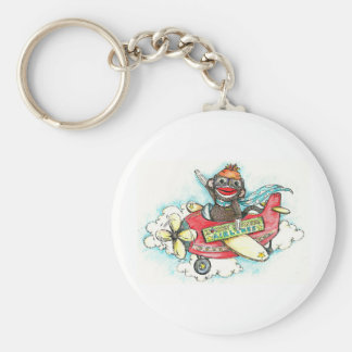 Sock Monkey Business Airlines Key Ring