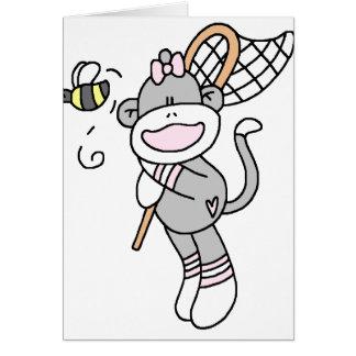 Sock Monkey Catching Bugs Greeting Card