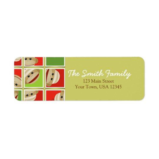 Sock Monkey Christmas Blocks Return Address Return Address Label