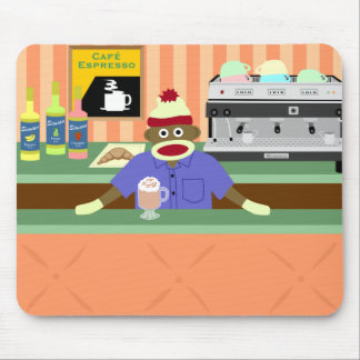 Sock Monkey Coffee Shop Barista Mouse Pad