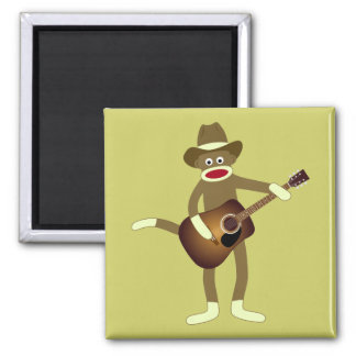 Sock Monkey Country Music Square Magnet