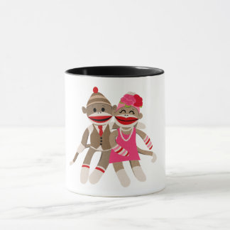 Sock Monkey Couple Mug