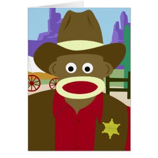 Sock Monkey Cowboy Card