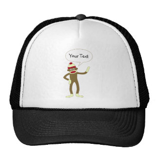 Sock Monkey Customizable Comic Speech Bubble Trucker Hat