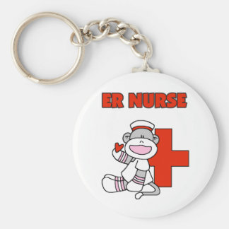 Sock Monkey ER Nurse T-shirts and Gifts Key Ring