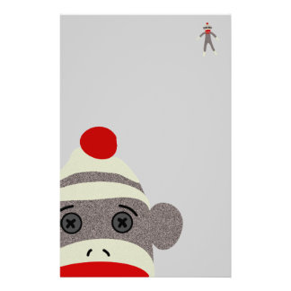 Sock Monkey Face Stationery