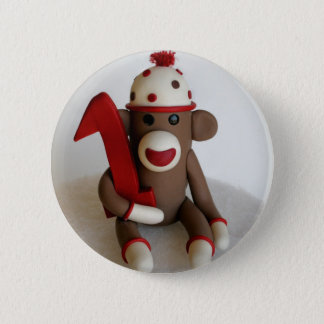 Sock Monkey First Birthday 6 Cm Round Badge