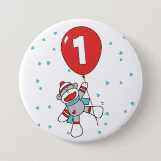 Sock Monkey First Birthday 7.5 Cm Round Badge