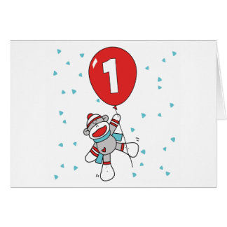 Sock Monkey First Birthday Invitations