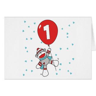 Sock Monkey First Birthday Invitations Note Card